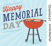 Stock vector happy memorial day cookout barbecue bbq grill vector 192969932