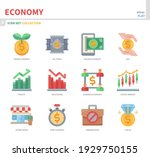 economy icon set color flat... | Shutterstock .eps vector #1929750155