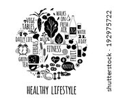 healthy lifestyle icons set | Shutterstock .eps vector #192975722