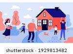 grandpa visiting children and...   Shutterstock .eps vector #1929813482