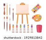 drawing supplies set. artists... | Shutterstock .eps vector #1929813842