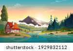 clear turquoise mountain lake... | Shutterstock .eps vector #1929832112