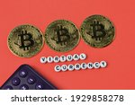 calculator  golden bitcoins and ... | Shutterstock . vector #1929858278