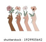 equality hands holding flowers... | Shutterstock .eps vector #1929905642