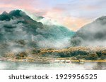 Panorama Scenic Of Foggy...