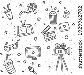 set of doodle cinema . cinema... | Shutterstock .eps vector #1929962702