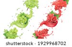 red and white grapes in juice... | Shutterstock .eps vector #1929968702