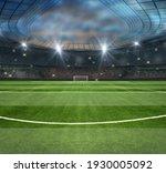 Green field in soccer stadium....