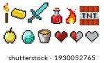 set of vector pixel objects.... | Shutterstock .eps vector #1930052765
