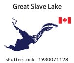 silhouette of a large world lake, the Great Slave, with the flags of the countries in which it is located vector illustration