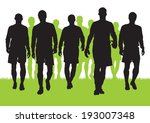 silhouettes of football players  | Shutterstock .eps vector #193007348