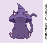 black witch's cat. hammer of... | Shutterstock .eps vector #1930089002