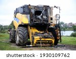 Closeup Of A Burnt Out Combine...