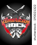 american rock tour with skulls... | Shutterstock .eps vector #193021322