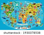 animal map of the world with... | Shutterstock .eps vector #1930378538