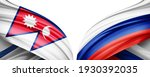 Nepal and Russia flag of silk with copyspace for your text or images and white background-3D illustration