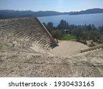 Kas Antiphellos Hellenistic antique theater leaned on nature rocks. It has 26 tiers with 4000 spectators capacity dated back 1st B.C. Kas. Mediterranean region, Turkey.