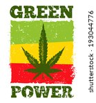 Green Power Cannabis Leave on Grunge Background