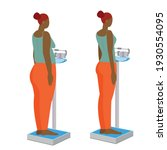 black woman on medical scales.... | Shutterstock .eps vector #1930554095