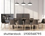 dining area with table and...   Shutterstock . vector #1930568795