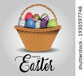 happy easter. bamboo basket... | Shutterstock .eps vector #1930597748