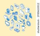 isometric social media icons... | Shutterstock .eps vector #1930610312