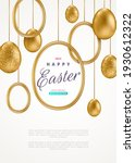 easter card with realistic gold ... | Shutterstock .eps vector #1930612322