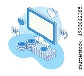 isometric social media seven... | Shutterstock .eps vector #1930612385