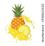 pineapple fruit splash juice...   Shutterstock .eps vector #1930613132