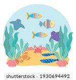 cartoon animals algae life... | Shutterstock .eps vector #1930694492