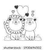 lion tiger love animals sketch | Shutterstock .eps vector #1930696502