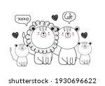 cartoon animals sketch isolated ... | Shutterstock .eps vector #1930696622