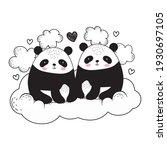 pandas sitting on cloud sketch | Shutterstock .eps vector #1930697105