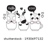 cute animals on cups sketch | Shutterstock .eps vector #1930697132