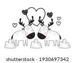 cute deers love animals sketch | Shutterstock .eps vector #1930697342