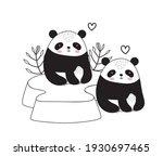 pandas bear floral sketch... | Shutterstock .eps vector #1930697465