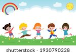 happy children jumping and... | Shutterstock .eps vector #1930790228
