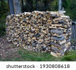 Firewood Stack Of Split Pine...