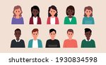 set of man and woman flat... | Shutterstock .eps vector #1930834598