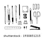 doodle stationery. hand drawn...   Shutterstock .eps vector #1930851215
