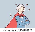 successful super oldwoman. hand ... | Shutterstock .eps vector #1930901228