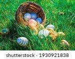 Easter Eggs Bunny. Golden Egg...
