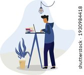 a man standing working with... | Shutterstock .eps vector #1930984418