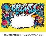 graffiti illustration with... | Shutterstock .eps vector #1930991438