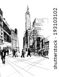 black ink drawing of city... | Shutterstock .eps vector #193103102