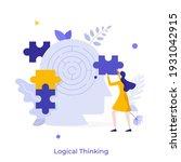 woman assembling jigsaw puzzle... | Shutterstock .eps vector #1931042915