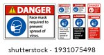 danger face mask required to... | Shutterstock .eps vector #1931075498