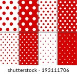 Jumbo and Small Polka Dots Seamless Patterns in Red, and White. Vector art image illustration - stock vector