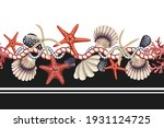 border with starfishes  shells... | Shutterstock .eps vector #1931124725
