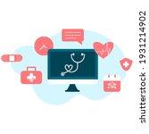 online tele medicine flat... | Shutterstock .eps vector #1931214902